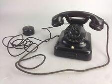 Antik Altes Telefon Schwarz Post Wählscheibe Anschlussbox Bakelit Bauhaus