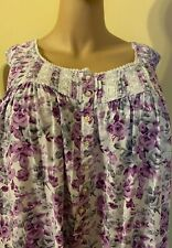 Eileen west nightgown 2X 100% Rayon  No Sleeves Long Floral Purple