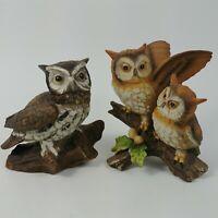 "Homco Barn Owls 5"" Marked 1114 1404 Vintage Ceramic Brown Owl Figurines"