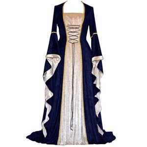 Medieval Renaissance Costume Velvet Long Dress Gothic Victorian Gown Cosplay
