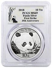 2018 China 30 g Silver Panda ¥10 Coin PCGS MS69 FS Panda Label SKU50539