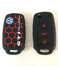 VW GTI Golf Silicone Key Fob Case Cover Volkswagen Mk5 Mk6 Rubber Sleeve black