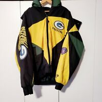 VTG Pro Player Green Bay Packers NFL Leather Mens Jacket Coat Sz XL Genuine