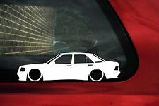 2x LOW W201 Mercedes 190e 16v / AMG car silhouette outline stickers, Decal 190 e