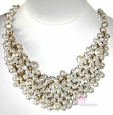 Classic Womens Chunky Bib Mesh Cream Pearls of Wisdom Bridal Dressy Necklace