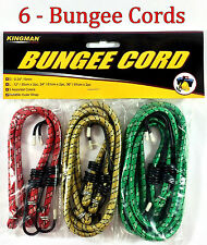 "6pc Bungee Cord Tie Down Straps Bungie Cords Assortment Set 12"" 24"" & 36"""