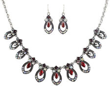 Jewelry set rot Kristall Ohrringe Necklace Chain Statement Style Earrings Retro