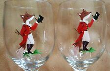 Hand Painted Mr. Fox Fox Hunt Horse wine glasses.  Set of 4.