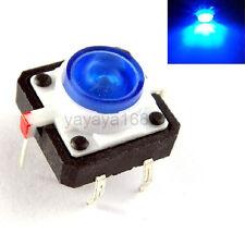 10pcs Illuminated Bule LED Light Momentary Tact Switch Pushbutton 12x12mm DIP