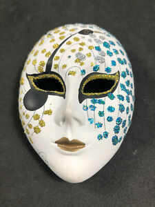 "Vintage Ceramic Mask Hand Painted Italy Small 3 3/8"" Signed Keth?"