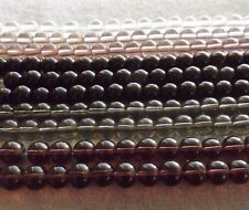 MIXED LOT ROUND GLASS BEAD STRANDS (10) 6 MM CHARCOAL GREY BLACK CLEAR PLUM
