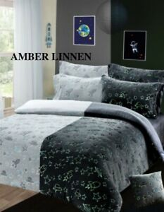 Space Glow In The Dark Teddy Duvet Quilt Cover Kids Bedding Set Christmas Gift