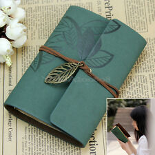 Vintage Leaf Dark Green PU Leather Cover Notebook Diary Journal Travel String