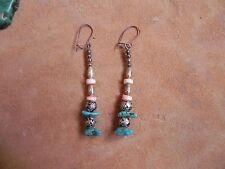 Turquoise, Red Lip Shell & Rose Silver Beads dangle Earrings Santo Domingo