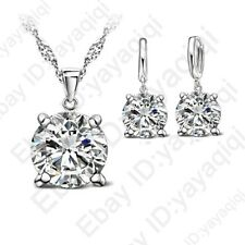 Shining Women Girl 4 Claws Cubic Zirconia Necklace Hoop Earrings Jewelry Sets