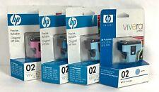 HP 02 Ink Cartridge Lot of 4 OEM Genuine Light Cyan Magenta NEW Expired A22-14