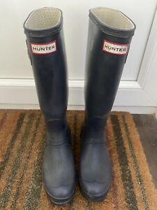 Hunter Wellies Navy Blue UK Size 5 (EU 38) Original Tall Wellington Boots