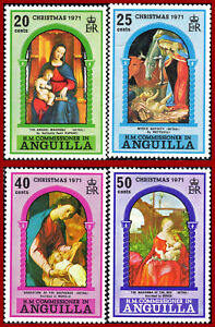 Anguilla 1971 Christmas paintings by Botticelli Murillo Raphael Dürer SG 117-120