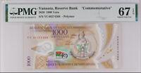 Vanuatu 1000 VATU 2020 P new Comm. Polymer SUPERB GEM UNC PMG 67  EPQ