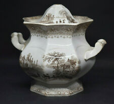 Antique Brown Transferware Sugar Bowl Garden Scenery TJ & J Mayer 1843-1855