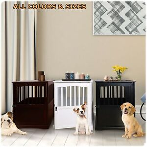 Dog Pet Crate Indoor Wooden End Table Nightstand Living Room Bedroom Pet Comfort