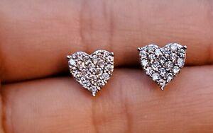 Dazzling 18ct White Gold Diamond Earrings 18K Heart Stud 0.5ct 1/2 Carat Stamped