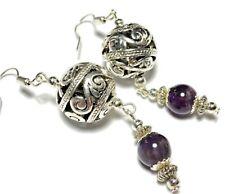 Amethyst Earrings Tibetan Style Hooks, Clip On Butterfly Studs or 925 Silver