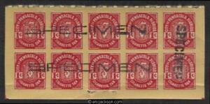 FLORIDA Pensacola Cigarette Revenue 1c red, black SPECIMEN h/s, pane of 10