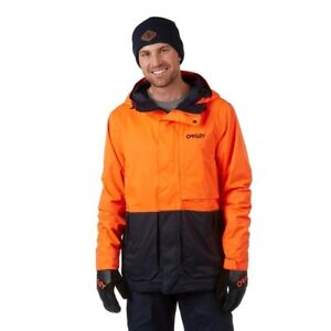 Oakley Highline 10K Biozone Navy Orange Hooded Ski Snowboard Jacket Coat XL