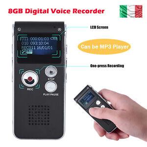 8 GB Registratore Audio Vocale Portatile Mp3 Musica USB Digitale Voice Recorder