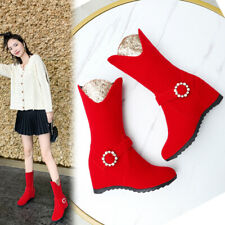 Fashion Women's Lady Round Toes Hidden Wedge Rhinestone Mid-Calf Boots Shoes