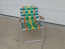 Vintage Aluminum Folding Webbed Lawn Chair Wooden Arms Green Yellow Orange