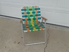 New listing Vintage Aluminum Folding Webbed Lawn Chair Wooden Arms Green Yellow Orange