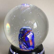SGS Bohemia Czech Art Glass Paperweight Red Blue White Swirl Core Air Bubbles