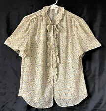 Chelsea & Violet Ivory Floral Print Poly Top Ruffles Neck Tie Short Sleeves S