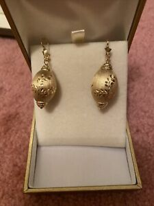 """925 MarKed Gorgeous Solid Silver With 18k Y-Gold Plated1.5"""" Long  Drop earrings"""