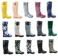 New Womens Flat Wellies Mid Calf Rubber Rain & Snow Boots Rain Boots,Size 5-11