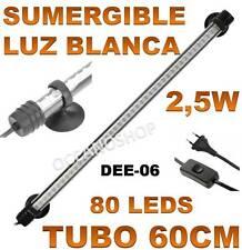 TUBO 60CM PANTALLA SUMERGIBLE 2,5W ACUARIO LED LUZ BLANCA GAMBARIO PECERA LEDS