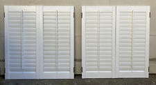 """2 Sets 37"""" T x 34.75"""" W Colonial Wood Interior Louver Plantation Window Shutters"""