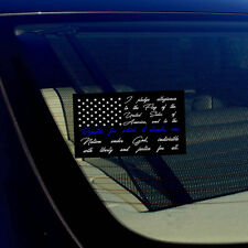 American Flag Pledge of Allegiance Thin Blue Line Car Window Sticker Decal 4""
