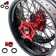 3.5/4.25*17 SUPERMOTO WHEELS RIMS FIT HONDA CR125R CR250R 96-99 CR500R RED/BLACK
