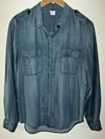 J. Crew Chambray Outlaw Blouse Women's S Button Front Shirt Tellum Blue Lyocell