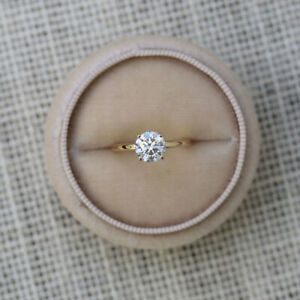 Round 0.40 Ct Diamond Engagement Ring Solitaire 14K Yellow Gold Size M N O 1/2