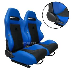 PAIR TANAKA BLUE PVC LEATHER BLACK SUEDE ADJUSTABLE RACING SEATS FOR CHEVY E