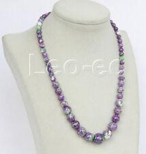"18"" 6-14mm Graduated purple Chrysocolla necklace 18KGP v830"