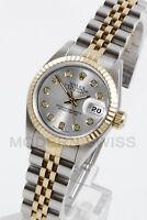 Rolex Ladies Datejust Gold & Steel Silver Diamond Fluted Jubilee 2Tone Perpetual