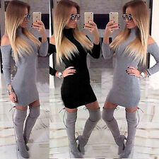 Womens Off Shoulder Long Sleeve Sweater Jumper Knit Knitwear Bodycon Mini Dress