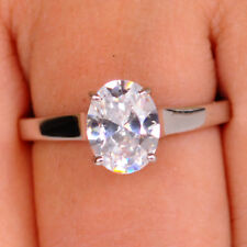 Oval Shape Solitaire Engagement Ring 925 Sterling Silver 2.65 Carat Glorious