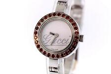 Ladies Gucci YA105534 Stainless Bangle Bracelet White Dial Garnet Bezel Watch