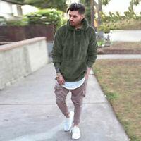 Sleeve Fur Top Hoodie Warm Fleece Long Coat Winter Hooded Mens Jacket Sweatshirt
